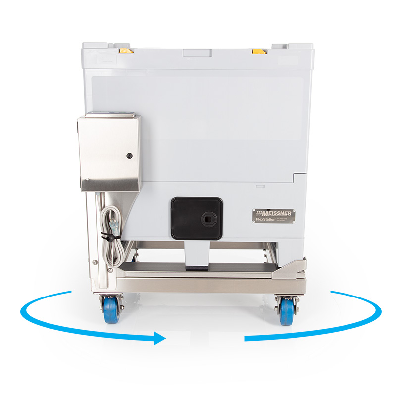 200 L FlexStation® Rigid Outer Container on Accessory Push Cart with Load Cell