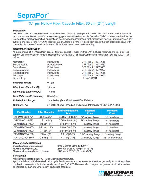 """SepraPor™ 0.1 μm, 60 cm (24"""") Length Hollow Fiber Capsule Filter"""