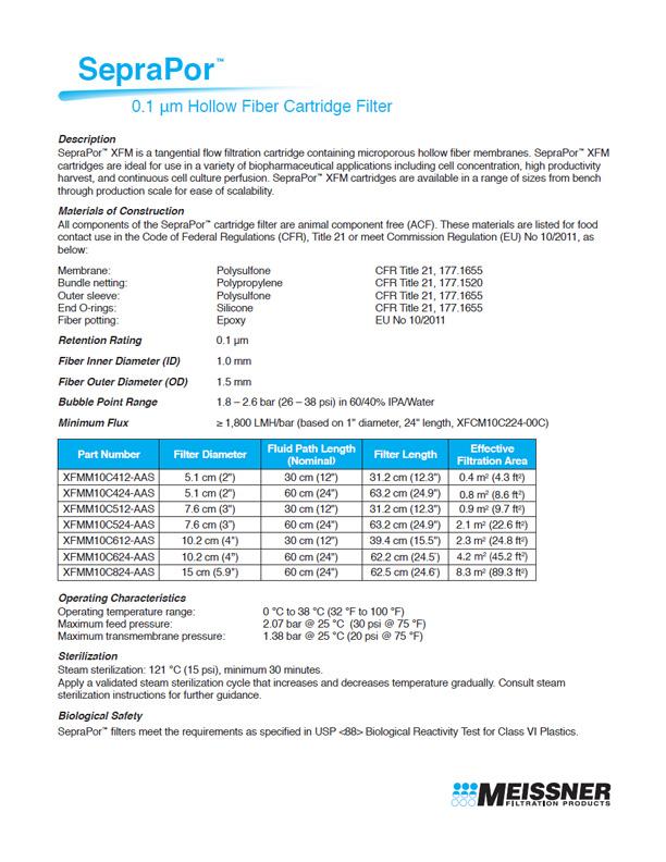 SepraPor™ 0.1 μm Hollow Fiber Cartridge Filter