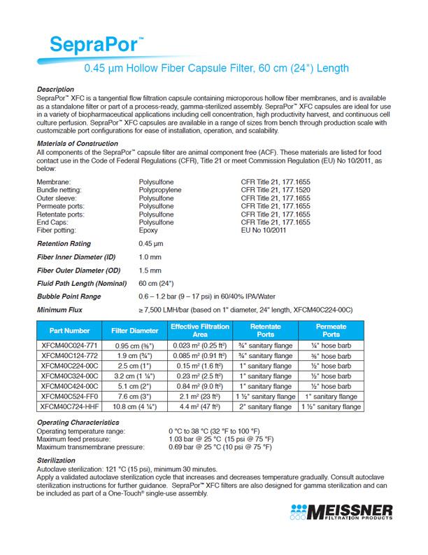 """SepraPor™ 0.45 μm, 60 cm (24"""") Length Hollow Fiber Capsule Filter"""